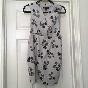 Blue Gray Floral Sheath Dress